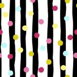 Nettes geometrisches nahtloses Muster Tupfen und Streifen Reale gemalte abstrakte Beschaffenheit wurde zu verfolgt Hand gezeichne Stockfotos