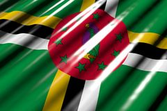 Nettes glänzendes - aussehend wie Plastikflagge von Dominica mit großen Falten, liegen Diagonale - irgendeine Illustration der Fe vektor abbildung