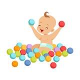 Nettes glückliches Baby, das mit mehrfarbigen Bällchen, bunte Zeichentrickfilm-Figur-Vektor Illustration sitzt und spielt Stockfotografie