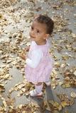 Nettes glückliches Baby unter Herbstblättern stockfotografie