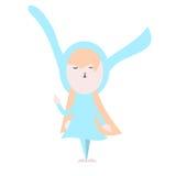 Nettes glückliches Häschen in der hellblauen Kleiderillustration auf einem weißen BAC Lizenzfreies Stockbild