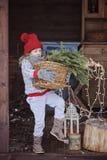 Nettes glückliches Kindermädchen im Weihnachtshut und -strickjacke mit Korb von Tannenzweigen Stockbilder