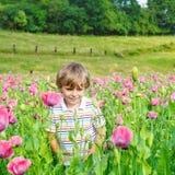 Nettes glückliches kleines blondes Kind auf dem blühenden Mohnblumengebiet Lizenzfreies Stockfoto