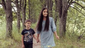 Nettes glückliches kleines Mädchen und Junge sind gehendes Händchenhaltenlächeln stock footage