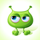 Nettes grünes Monster des Vektors lokalisiert auf Weiß Stockbild
