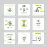 Nettes Häschen auf Blumenhintergrund mit Text Ankunfts-Baby-Karte Baby-Waschbär-Junge Karikatur polar mit Herzen stock abbildung