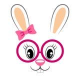 Nettes Häschen mit rosa Bogen und Gläsern Mädchenhafter Druck mit Kaninchengesicht für T-Shirt Stockbild
