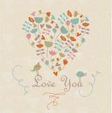 Nettes Herz mit Blumen Lizenzfreies Stockfoto
