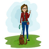 Nettes Illustrationsmädchen mit Hund Stockbild
