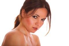 Nettes junges Brunettemädchenportrait getrennt Lizenzfreie Stockbilder