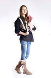 Nettes junges Kursteilnehmermädchen. Stockbilder