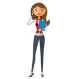 Nettes junges Mädchen glücklich am Telefon Vektor Lizenzfreie Stockfotos