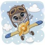 Nettes Kätzchen fliegt auf ein Flugzeug lizenzfreie abbildung