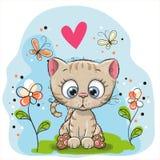 Nettes Kätzchen mit Blumen lizenzfreie abbildung