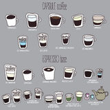 Nettes Kaffeemenü Stockbild