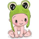 Nettes Karikatur-Baby in einem Froschhut lizenzfreie abbildung