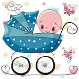 Nettes Karikatur-Baby sitzt auf einem Wagen vektor abbildung