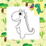 Nettes Karikatur Dino-Malbuch Stockbilder