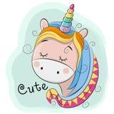 Nettes Karikatur-Einhorn auf einem blauen Hintergrund Stockfotos