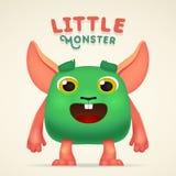 Nettes Karikatur-Grün-ausländischer Geschöpfcharakter mit wenig Monsterbeschriftung Flaumiges Mutantkaninchen des Spaßes lokalisi Lizenzfreie Stockbilder
