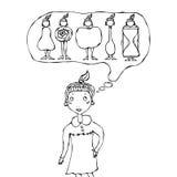 Nettes Karikatur-Hippie-Mädchen, das an Frauen-Körper-Form denkt Lizenzfreie Stockfotos