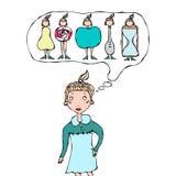 Nettes Karikatur-Hippie-Mädchen, das an Frauen-Körper-Form denkt Stockbilder
