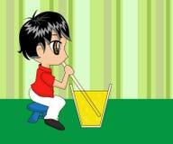 Nettes Karikatur-Jungen-Trinken Stockfoto