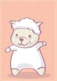 Nettes Karikatur-Lamm auf chinesische Art-Muster-Hintergrund Lizenzfreie Stockfotos