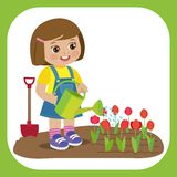 Nettes Karikatur-Mädchen mit Gießkanne-Funktion im Garten Junger Landwirt Girl Watering Tulip Flowers lizenzfreie abbildung