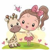 Nettes Karikatur-Mädchen mit Giraffe vektor abbildung