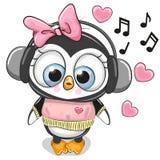 Nettes Karikatur Pinguin-Mädchen mit Kopfhörern lizenzfreie abbildung