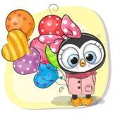 Nettes Karikatur-Pinguinmädchen mit Ballon lizenzfreie abbildung
