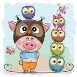 Nettes Karikatur-Schwein und fünf Eulen Stockbilder