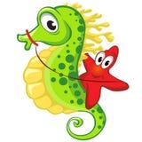 Nettes Karikatur Starfishreiten auf dem Seahorse Stockfoto
