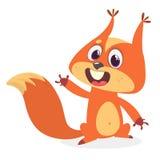 Nettes Karikatureichhörnchen in der spielerischen Stimmung Vektorabbildung getrennt stock abbildung