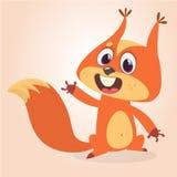 Nettes Karikatureichhörnchen in der spielerischen Stimmung Vektorabbildung getrennt lizenzfreie abbildung