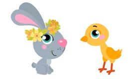 Nettes Karikaturen Ostern-Kaninchen mit Huhn Passend für Ostern-Design Lizenzfreies Stockbild