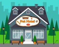 Nettes Karikaturgebäude des Haustier-Hotels für Hunde und Katzen Flache Illustration des Vektors lizenzfreie abbildung