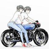 Nettes Karikaturjunge andgirl, das ihr Motorrad reitet Lizenzfreie Stockfotos