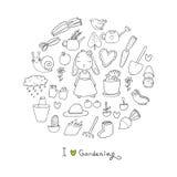 Nettes Karikaturkaninchenmädchen und Satz des Gartens wendet ein Anlagen, Töpfe und Werkzeuge für die Gartenarbeit Lizenzfreies Stockfoto