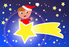 Nettes Karikaturkind, das einen Kometen reitet Stockbild