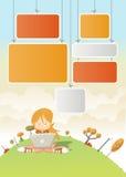 Nettes Karikaturmädchen mit Laptop Stockfotos