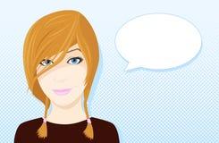 Nettes Karikaturmädchen mit Spracheblase Lizenzfreies Stockfoto