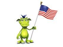 Nettes Karikaturmonster, das eine amerikanische Flagge anhält. stock abbildung