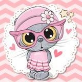 Nettes Katzenmädchen in den rosa Brillen vektor abbildung