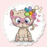 Nettes Katzenmädchen in den rosa Brillen lizenzfreie abbildung