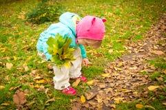 Nettes Kind, das in Herbstpark geht Stockfoto