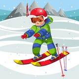 Nettes Kind der Karikatur, das Ski in der Klage weitergeht stockfotografie