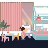 Nettes Kind in der Malerei in seinem ihr Innenraum des Schlafzimmerspiels allein für Tochtermädchen Lizenzfreie Stockfotografie