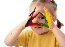 Nettes Kind mit den gemalten Händen Lizenzfreies Stockfoto